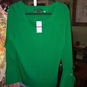INC Green blouse with jeweled tie sleeve